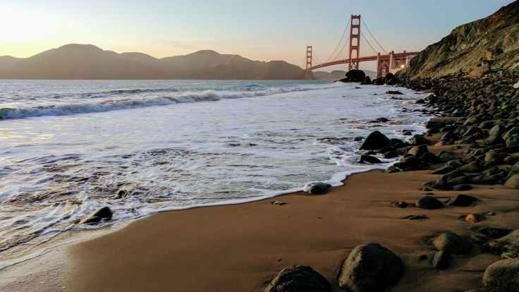 beach bridge dusk golden gate bridge
